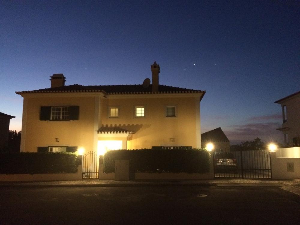 Villa front at night